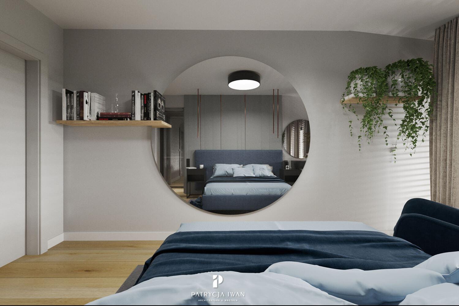 projekt sypialni z granatem