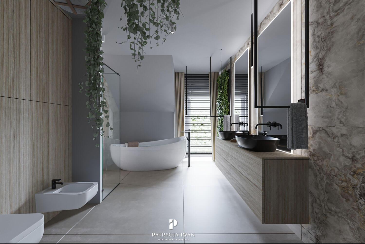 projekt łazienki z czarnymi umywalkami