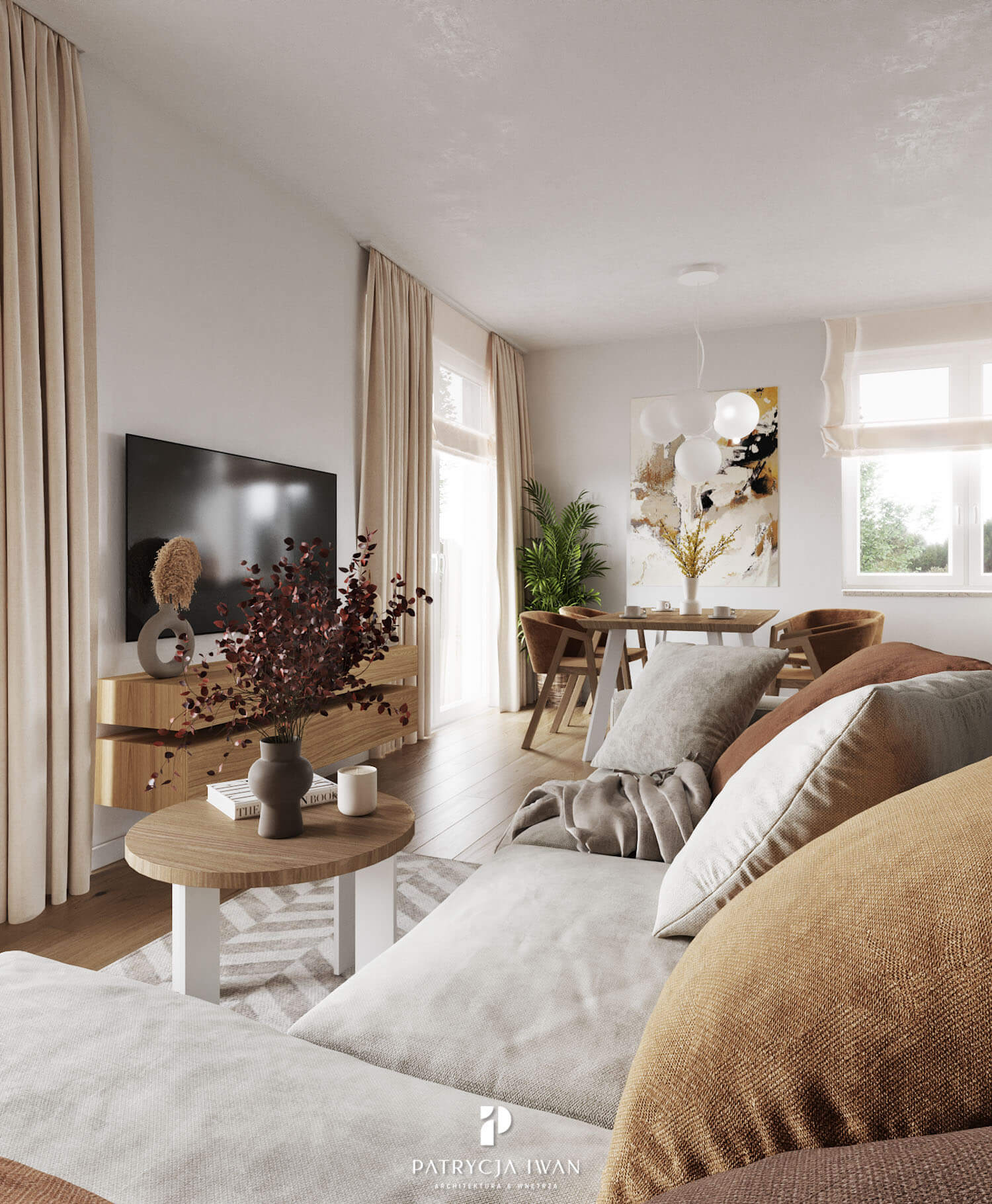 projekt salonu z kanapą welurową