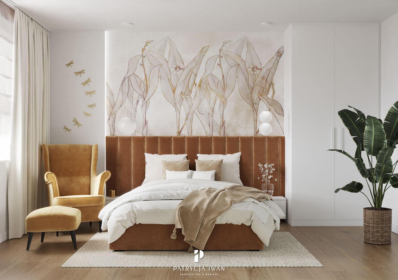 projekt sypialni z fotelem miodowym