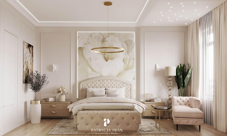 projekt wnetrza sypialni ze złotem