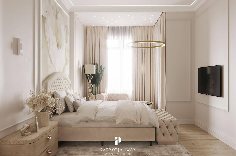 jasna sypialnia z pikowaniami