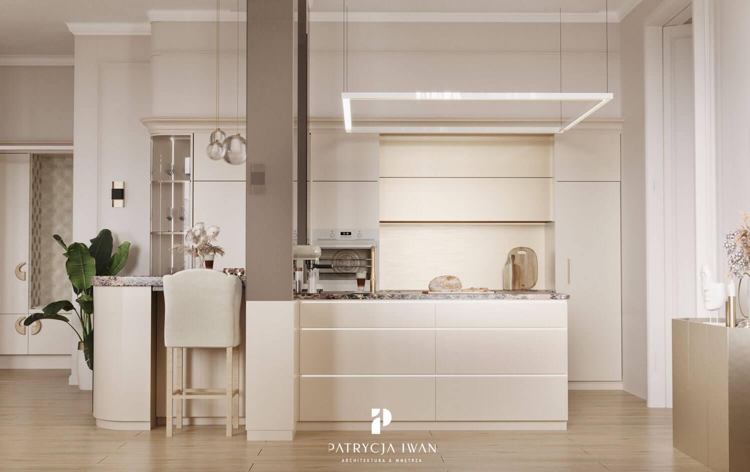 projekt kuchni ze złotymi frontami