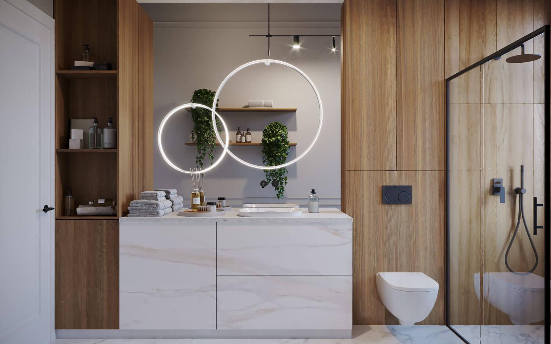 projekt łazienki z lustrem